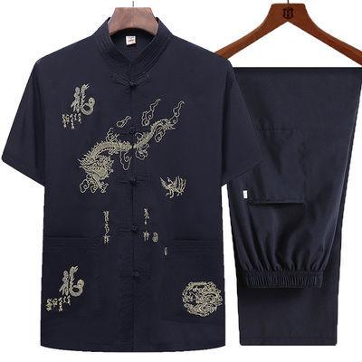 男士唐装男套装短袖中国风中老年人夏季薄款爸爸装汉服爷爷上衣服