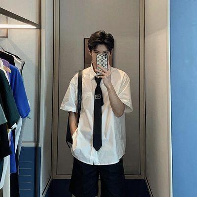 夏季JK领带白衬衫男短袖韩版宽松潮流学生纯白学院风ins休闲衬衣