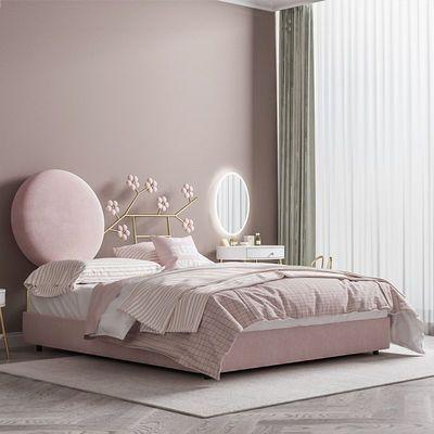 新款少女公主床网红ins风卧室现代轻奢北欧布艺床梅花软包可定制