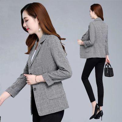 年轻妈妈装春秋薄款外套30-40岁韩版小西装短款格子外套上衣女