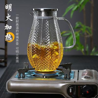 耐高温玻璃冷水壶大容量耐热防爆透明家用套装锤纹北欧白开凉水壶
