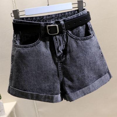 烟灰色牛仔短裤女2020夏季新款韩版高腰宽松百搭翻边A字阔腿热裤