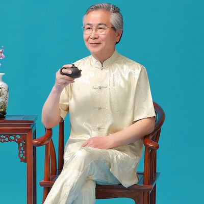 唐装男中老年人短袖冰丝套装爸爸装春夏季汉服中国风爷爷男装大码