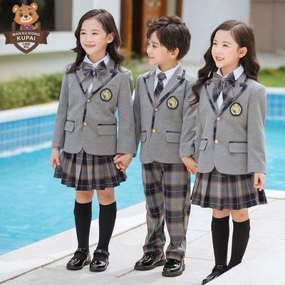 酷派英伦风格子西服套装幼儿园园服春秋装小学班服校服礼服