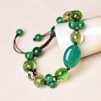复古手链 装饰手饰绿色首饰民族风景泰蓝女原创饰品 玛瑙手串手链