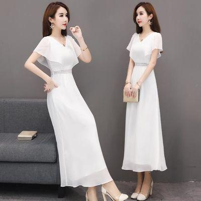 雪纺白色连衣裙修身显瘦长款名媛气质蕾丝裙子蝙蝠袖法式长裙女夏