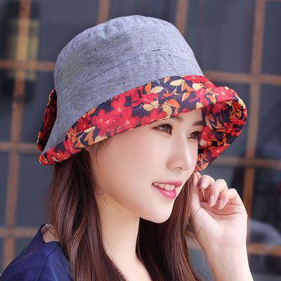 帽子女夏季碎花翻边可折叠格子布帽渔夫帽遮阳防晒太阳帽妈妈凉帽