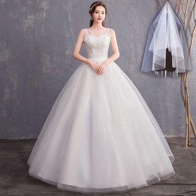 婚纱礼服蕾丝双肩V领显瘦公主大码齐地婚纱2018新款新娘结婚礼服