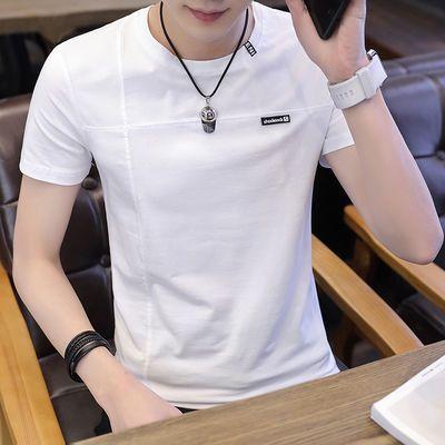 纯棉短袖t恤男夏季新款圆领修身韩版上衣服潮流青年男装半袖体恤
