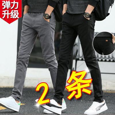 夏季薄款裤子男装弹力休闲裤男生直筒韩版潮流修身小脚裤男士长裤