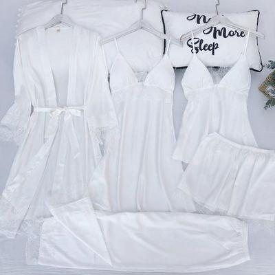 春夏季五件套家居服冰丝睡衣女性感蕾丝吊带睡裙睡袍女带胸垫套装