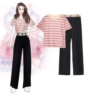套装/单件 含棉夏季条纹短袖t恤女学生韩版冰丝高腰阔腿裤两件套
