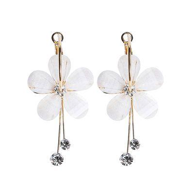 个性气质花朵耳扣女日韩版清新白色水晶花瓣耳圈长款流苏耳坠耳钉