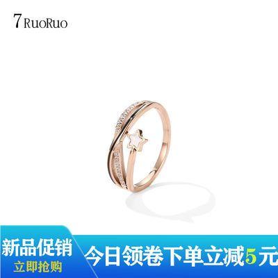 韩版时尚钛钢戒指女网红ins玫瑰金不掉色食指戒子送老婆女友礼物