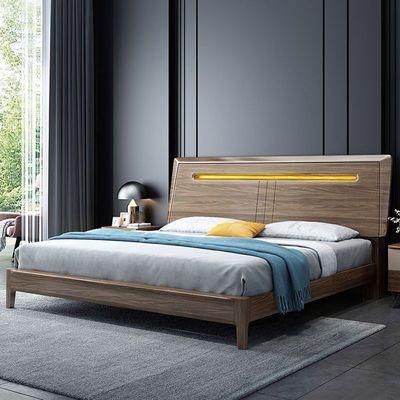 全实木黑胡桃木床1.8米现代简约轻奢婚床双人床1.5m储物床网红床