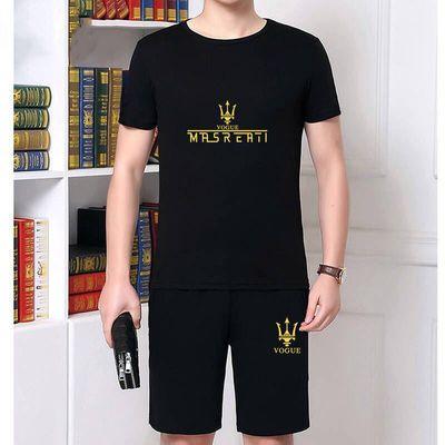 男士休闲运动服男装套装短裤上衣两件套春夏天中青年大码薄款透气