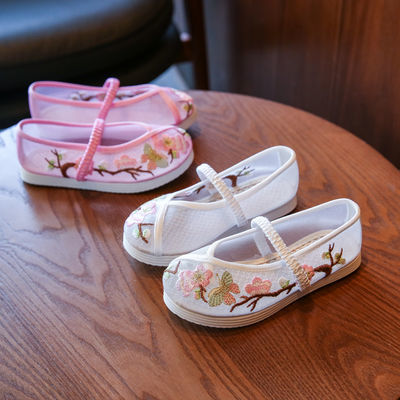 新款女童凉鞋儿童绣花鞋网纱夏季汉服鞋透气配旗袍特色老北京布鞋
