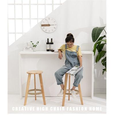 吧台椅靠背椅前台椅吧台凳现代简约酒吧椅子实木北欧高脚凳子