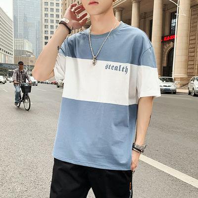 新款夏季男士短袖T恤圆领条纹宽松韩版棉大码半袖体恤男装潮流