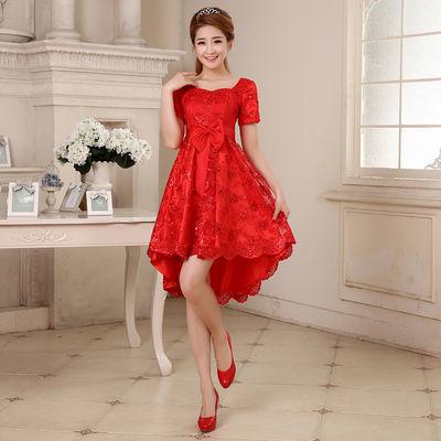 新娘敬酒服2019新款孕妇结婚婚纱红色短款晚礼服高腰显瘦女 L050