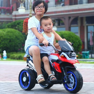 儿童电动车大号三轮车带遥控充电双驱动可坐骑男女宝宝电瓶摩托车