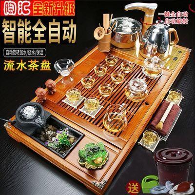 全自动整套实木功夫茶具套装茶盘家用陶瓷四合一体电热磁炉茶台海