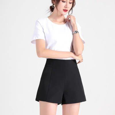白色短裤女夏a字高腰2020新款显瘦阔腿雪纺宽松黑色外穿西装短裤