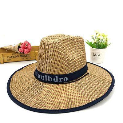 草帽夏季防晒竹编帽大帽檐遮阳农用编织帽子草编钓鱼帽礼帽透气