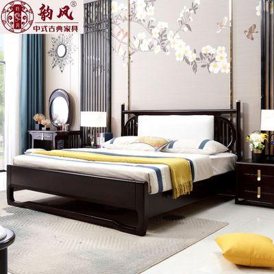 新中式实木床1.8米双人床现代中式简约轻奢禅意主卧室家具婚床ins