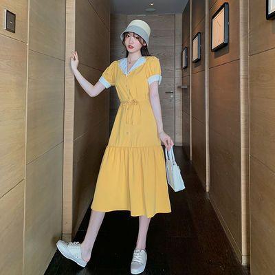 法式复古连衣裙夏2020新款ins淑女气质女神范翻领显瘦淡黄的长裙