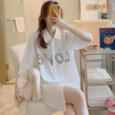 睡衣女夏睡裙新款春秋冰丝纯色开衫翻领性感白衬衫公主家居服套装