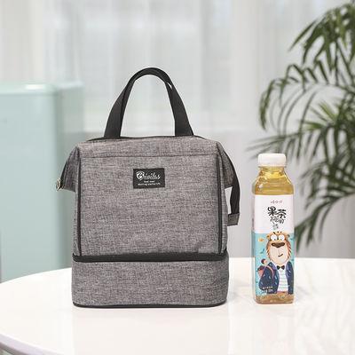 大容量双层阳离子保温包手提便当包纯色饭盒袋加厚铝箔保鲜饭盒包