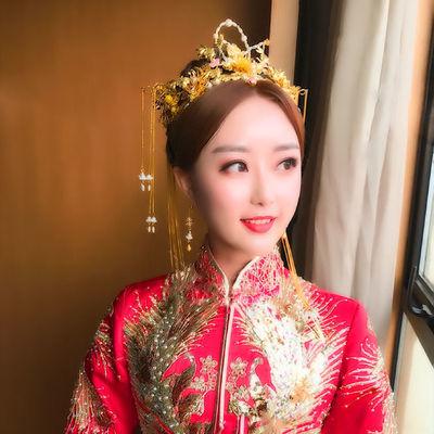 2019新款中式新娘头饰古装秀禾服头饰流苏复古凤冠结婚发饰套装