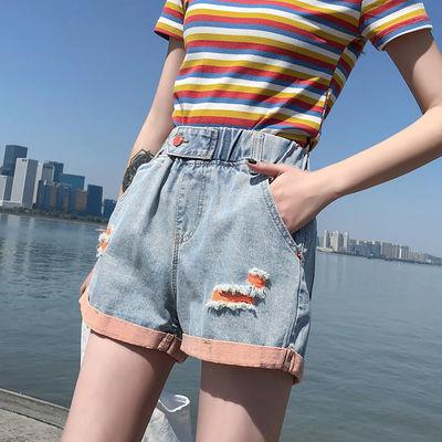 牛仔短裤女夏季新款潮ins宽松破洞高腰显瘦学生大码翻边阔腿热裤