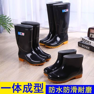 防水牛筋底雨鞋男胶鞋耐磨高筒雨靴加厚水鞋防滑劳保洗车水靴工地