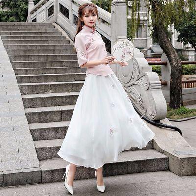 汉服女学生古装复古民国风旗袍绣花雪纺长裙日常古装中国风学生唐