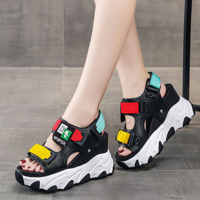 运动凉鞋女休闲夏季2020新款百搭厚底高跟坡跟增高松糕鞋网红潮牌