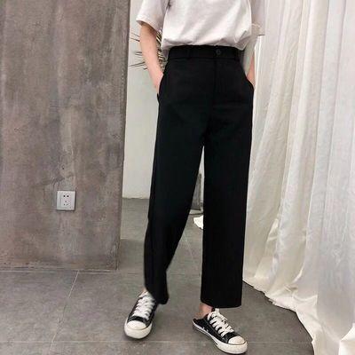 九分阔腿裤子女学生韩版宽松时尚百搭休闲直筒裤女黑色高腰西装裤
