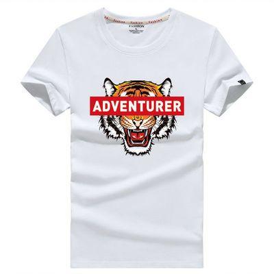 夏天衣服男装短袖t恤潮流男士学生T恤带有老虎头像动物图案男式装