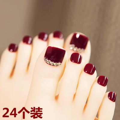 酒红色带钻脚趾甲贴片可穿戴美甲成品网红可拆卸持久防水脚甲贴片