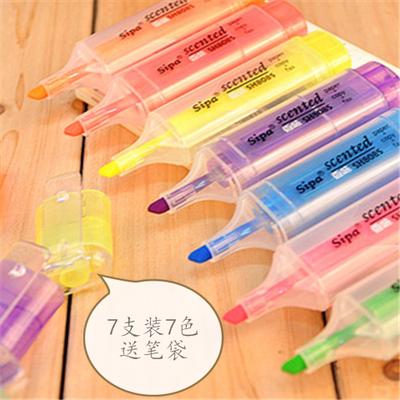 闪光水粉荧光笔香味7色学生文具大容量记号笔韩国创意糖果可爱