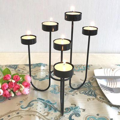 热卖北欧式铁艺蜡烛台轻奢ins浪漫烛光晚餐 婚礼生日西餐摆件家居