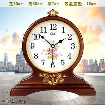 热销康巴丝欧式复古座钟客厅钟表创意床头时钟卧室静音台钟石英钟