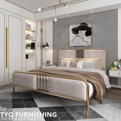 北欧轻奢铁艺床公主床金色铁床1.5软包单人床简约双人铁架床1.8米