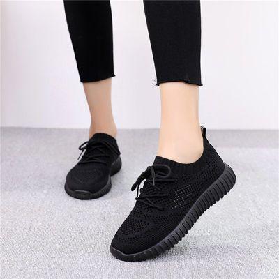 弹力袜子鞋女2019年夏季新款平底韩版运动鞋飞织透气旅游鞋学生鞋