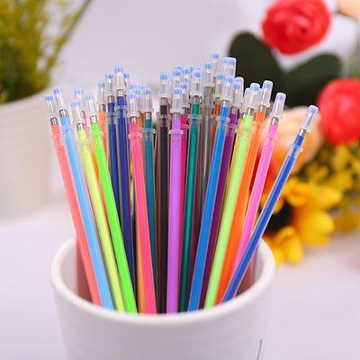 48色彩色中性笔芯荧光笔芯闪光笔套糖果色水粉高光笔学生文具用品
