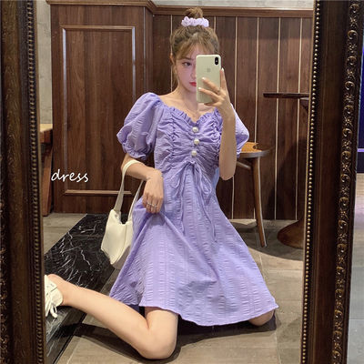夏季2020新款复古法式收腰显瘦V领Chic抽褶泡泡短袖连衣裙女裙子