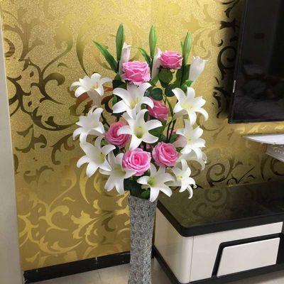 热卖破损补寄干花假花客厅落地假花仿真百合插花干花郁金香装饰花