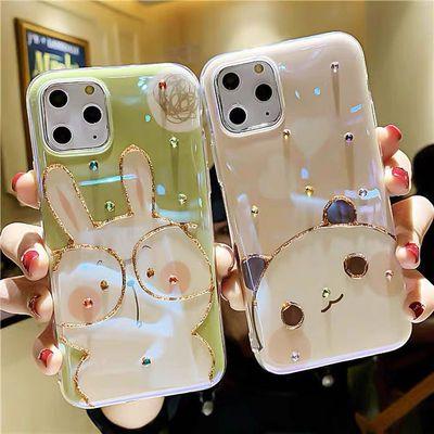 闪钻11pro萌兔iPhonex手机壳xs熊猫max卡通xr可爱苹果7plus女8套6