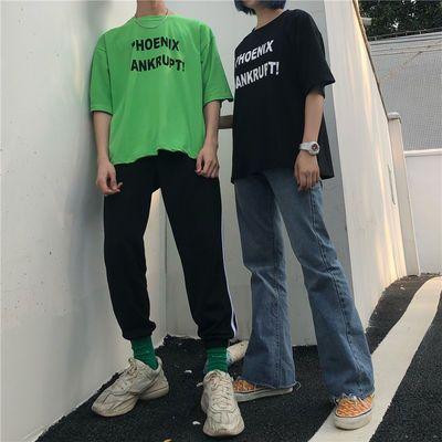 新款短袖18ss夏季韩国INS原宿BF风百搭街头荧光绿字母印花宽松男